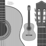 Fotoroleta Acoustic Guitar in engraving style on transparent background