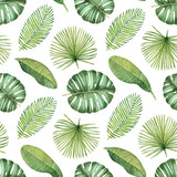 Fototapety Watercolor seamless tropical pattern