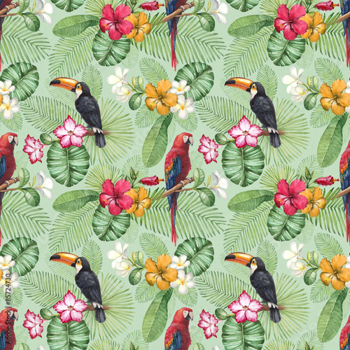 Cotton fabric Watercolor toucan and parrot. Seamless pattern
