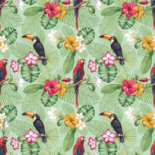 Stoffe zum Nähen Aquarell Tukan und Papagei. Nahtlose Muster