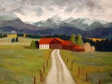 Drawing (Soft Pastels): Farm in the mountains