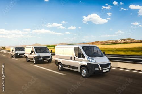 3D design delivery vans on a colorful background