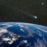 Comet Lovejoy over Italy from space.