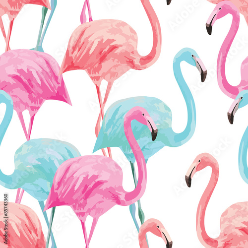 flamingo watercolor pattern - 85743360