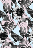 tropical black and white patchwork pattern - 85745914