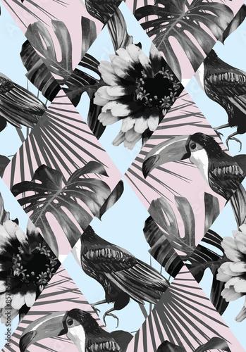 Stoffe zum Nähen tropischen schwarz-weiß Patchwork-Muster