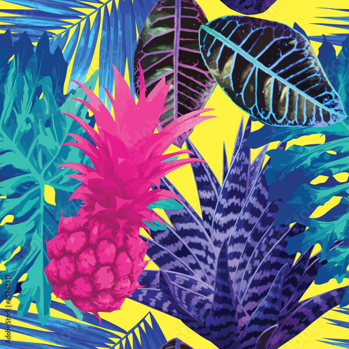Obraz na Szkle pink pineapple and blue exotic plants seamless background