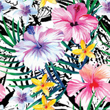 Fototapety exotic tropical floral watercolor pattern