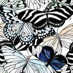butterflies black and white watercolor pattern