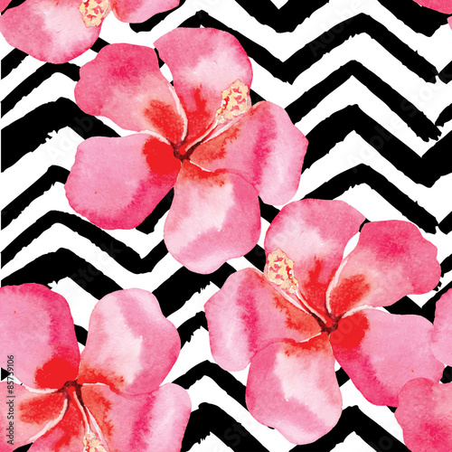 Cotton fabric tropical hibiscus watercolor pattern, black and white background