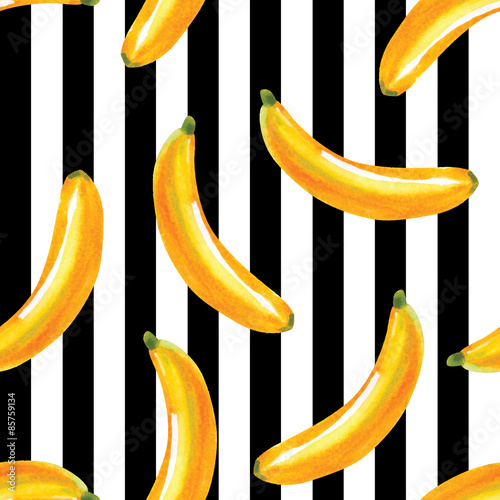 bananas watercolor pattern, striped background
