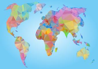 World Map vector. Polygonal triangle geometric
