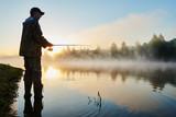 fisher fishing on foggy sunrise - Fine Art prints