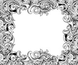 Baroque Horizontal Frame Ink Drawing