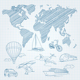 Travel Transport and world map line sketch on page notepad vector