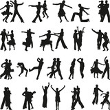 Fototapety dance people silhouette vector