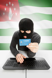 Cybercrime concept with national flag on background - Abkhazia poster