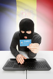Cybercrime concept with national flag on background - Andorra poster
