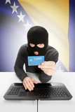 Cybercrime concept with national flag on background - Bosnia and Herzegovina poster