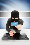 Cybercrime concept with national flag on background - Botswana poster
