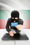 Cybercrime concept with national flag on background - Bulgaria poster