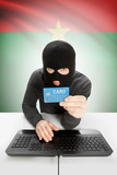 Cybercrime concept with national flag on background - Burkina Faso poster