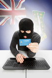 Cybercrime concept with national flag on background - British Virgin Islands poster