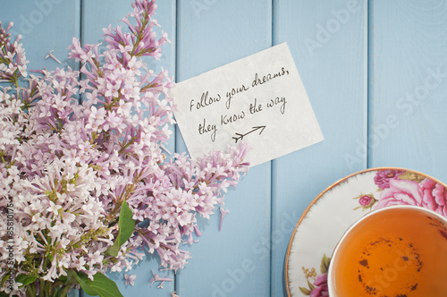 Poster Motivational card in summer bouquet of gentle blooming lilac  an