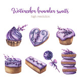 Watercolor lavender sweets set.