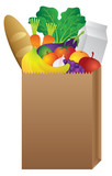 Fototapety Grocery Paper Bag of Food Vector Illustration