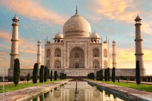 Poster Der Taj Mahal beim Sonnenaufgang