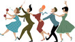 Obrazy na płótnie, fototapety, zdjęcia, fotoobrazy drukowane : Group of people dressed in late 1950s early 1960s fashion dancing conga with maracas, party whistle and a bottle of campaign, vector illustration, no transparencies, EPS 8
