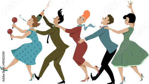 Group of people dressed in late 1950s early 1960s fashion dancing conga with maracas, party whistle and a bottle of campaign, vector illustration, no transparencies, EPS 8