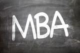 MBA written on a chalkboard poster