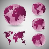 Set of wireframe world globes