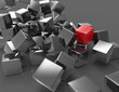 Silver abstract cubes background one is red