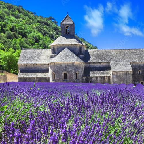 Naklejka Abbey de Senanque with blooming lavander field,Provence, France