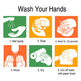How to wash your hands to avoid germs and other bad viruses. on orange and green style