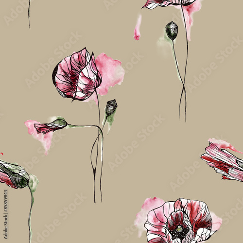 Seamless pattern with flowers. Watercolor illustration. © rina_ro