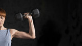 Fitness , Half Portrait of Athletic Strong Woman Workout with Dumbbell on black background - 85873165