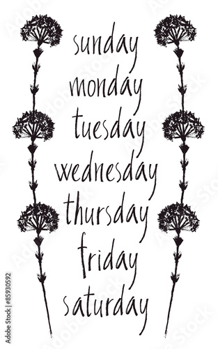 Card with Days of the week