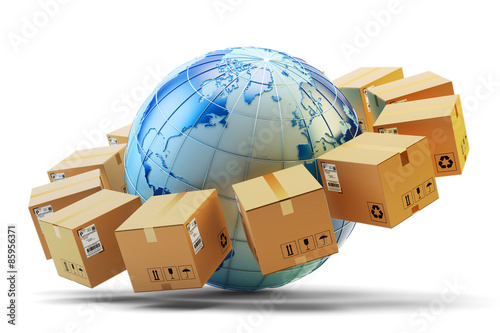 International package delivery concept, global purchases transportation business, cardboard boxes around Earth globe isolated on white background