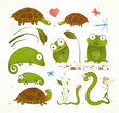 Cartoon Green Reptile Animals Childish Drawing Collection