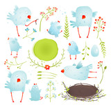 Fototapety Cartoon Fun and Cute Baby Birds Collection