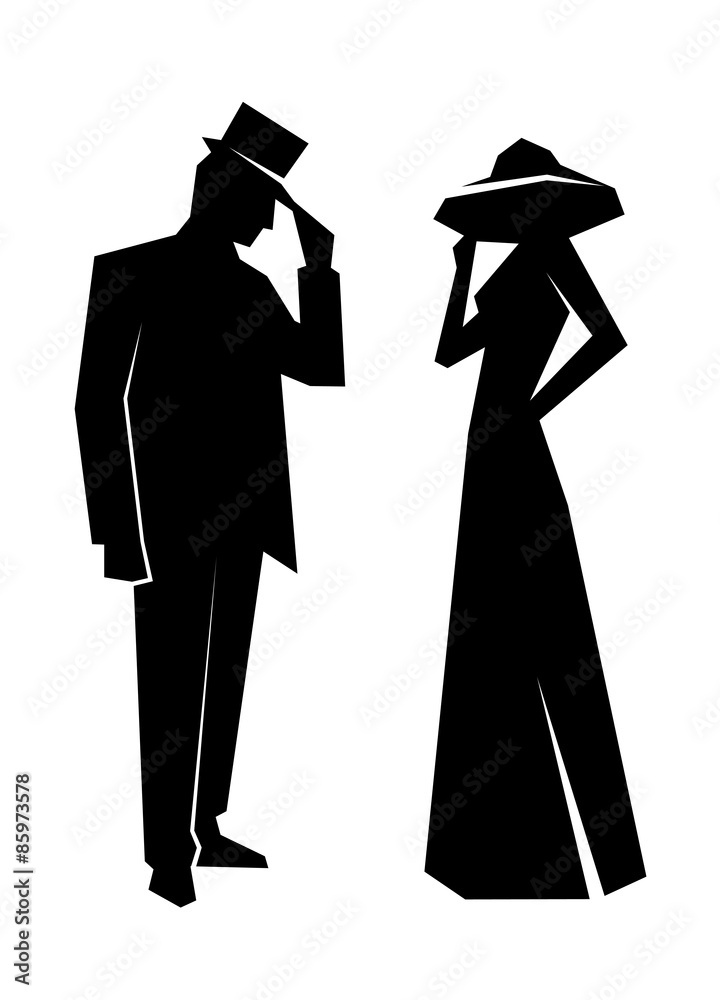 Silhouette of the lady and gentleman wall sticker