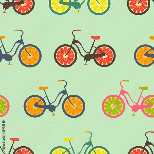 Cotton fabric Seamless colorful background made of bikes with fruit wheels