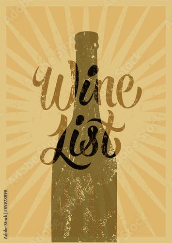 Deurstickers Geometrische dieren Calligraphic retro grunge style wine list design. Vector illustration.