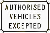 Authorized Vehicles Excepted in Australia poster