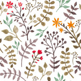 Seamless floral pattern with herbs and leaves - 85991325