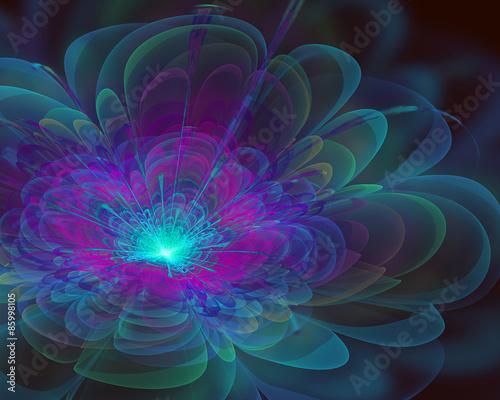Obraz na Szkle fantasy fractal flower design